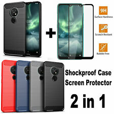 For Nokia 6.2 /Nokia 7.2, Shockproof Soft Cover Case + 9H Glass Screen Protector