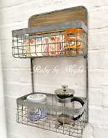 Vintage Style Metal Wall Shelf Unit Wood Industrial Storage Kitchen Bathroom
