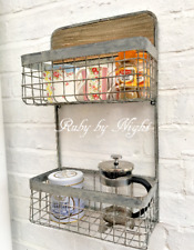 Vintage Style Metal Wall Shelf Unit Wood Industrial Storage Kitchen Bathroom