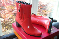 KATE SPADE NEW YORK PENNY BOOTS RED SHINY RUBBER #9us $179