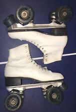 Vtg Sure Grip white Super X 5R Quad Roller Skates Quad Blue Wheels