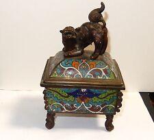 OLD 19TH CENTURY FOO DOG CHINESE CLOISONNE ENAMEL CENSOR BURNER BOX SIGNED