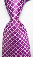 New Classic Checks Purple Red White JACQUARD WOVEN 100% Silk Men's Tie Necktie