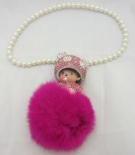 Rose Fuschia Monchichi Bling Keychain Car Hanging Charm Pom Pom Purse Accessory