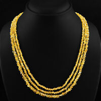 BEST 171.60 CTS NATURAL 3 LINE RICH YELLOW CITRINE ROUND CUT BEADS NECKLACE (DG)