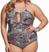 Kenneth Cole Reaction Women's Swimwear Black Size 3X Plus One Piece $102 #585
