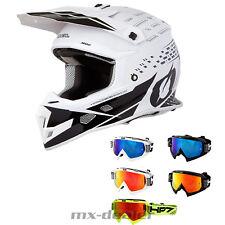 O'neal 3series Wild Multi Casco S da Cross MX Motocross Hp7 Occhiali DH Bianco/rosso Vespiegelt