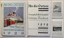 An die Ostsee über Stettin 1929 Dampfschiff Fahrplan Polen Ortskunde Landeskunde