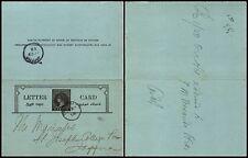 CEYLON - POSTAL STATIONARY LETTER CARD 5 CENTS x Jaffna 2.7.1898