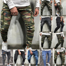 Mens Camo Skinny High Waisted Pencil Pants Denim Jeans Stretch Cargo Trousers