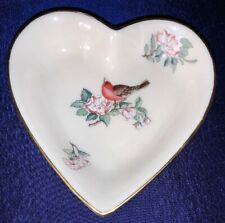 Vintage Lenox Heart Shaped Serenade Porcelain Dish With Bird And Flowers Mint