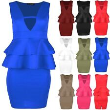 Plus Size Ladies Womens V Neck Double Peplum Frill Back Split Bodycon Mini Dress