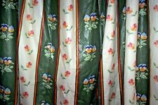 """Osborne and Little chintz Pansy Stripe curtains 83""""d x 75""""w green"""