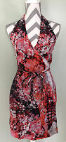 BANANA REPUBLIC Womens Red Pink White Black Floral Halter Wrap V-Neck Dress Sz 2