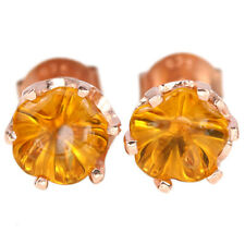 NATURAL ORANGISH YELLOW CITRINE FLOWER CARVING STERLING 925 SILVER STUD EARRING