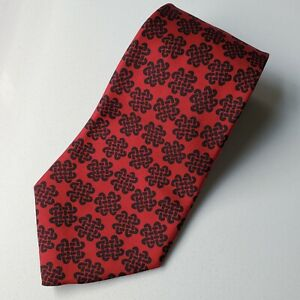 """HERMES ~ 383EA Authentic Red with Black Motifs 100% Silk Tie 4"""" W Made in France"""