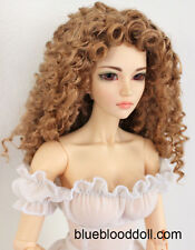 "1/3 bjd 8-9"" doll head copper red color curly long wig dollfie Luts Iplehouse"