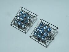 Vintage Blue Topaz Crystal Glass Brooches Collar Sweater Clip 2 pcs.