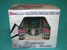 Beyondo Rare! 2007 Glass Coors Light Pitcher +4 Brew Beer Pint Tumblers