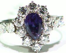 Vintage 2.88CT Platinum Natural Cut White Diamond Alexandrite Engagement Ring