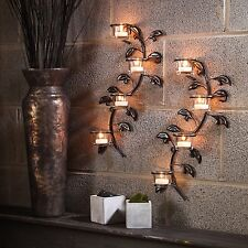 Wall Mount Sconce Candle Holder  2 Piece Set Home Spa Salon Decor Leaf Gift Box