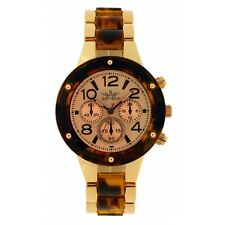 Softech Rose Gold Tortoise Shell Diamante Face Ladies Analog Wrist Watch Quartz