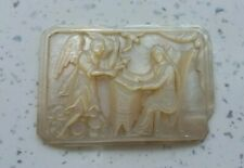More details for vintage/antique mother of pearl carved gaming chip? mary angel gabriel?