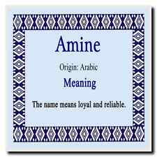 Amine Personalised Name Meaning Coaster