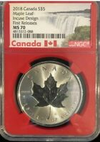 2018 Canada S $5 Maple Leaf Incuse Design First Release MS 70 NGC Red Core Label