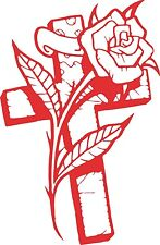 Cross Rose Flower Christian Car Truck Window Laptop Sign Vinyl Decal Sticker