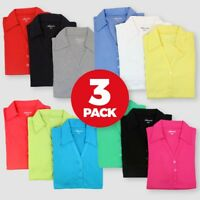 3 PACK Womens Polo Jersey Tops T Shirts V Neck Short Sleeved Collared Size 12-16