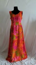 VTG 60'S MCINERNY BY SYDNEY HAWAII Vivid Tropic Floral Cotton Maxi Dress SZ 6