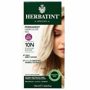 Herbatint Permanent Herbal Hair Color Gel, 10N Platinum Blonde, 4.56 Ounce