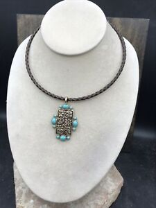 Barse Yesenia Necklace- Turquoise, Bronze & Leather-New With Tags