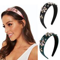 Baroque Wide Headband Hairband Crystal Wedding Hair Hoop Accessories Head Band
