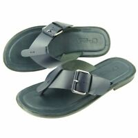 Charles Stone Genuine Leather Men's Flip-Flop Sandals, Blue 7-12US/40-45EU
