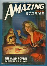 Pulp Amazing Stories 1947. Jan The Mind Rovers by R.S. Shaver Good Girl Cover