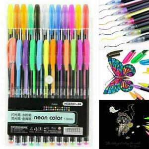12/24/36/48PCS Color Gel Pen Paint Book Craft Drawing Neon Graffiti Art Boo