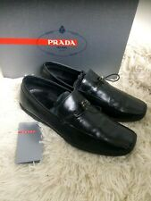Mens Black Leather PRADA Loafers shoes size UK 8 In Box