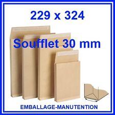 100 ENVELOPPES KRAFT SOUFFLET  229 x 324 mm ~ A4 - LIVRAISON GRATUITE