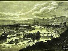 ROUEN NORMANDY FRANCE RIVER SEINE 1871 Engraving Art Print Matted