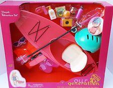"Our Generation American Girl 18"" Doll Kayak Camping Camera Helmet Sunglasses ++"