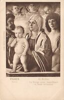 1920's VINTAGE VIRGIN & CHILD with ST PETER, BELLINI in LOUVRE PARIS POSTCARD