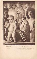1920's VINTAGE VIRGIN & CHILD with ST PETER, BELLINI in LOUVRE PARIS POSTCARD