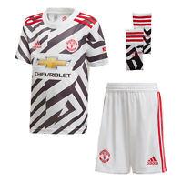 adidas Manchester United 2020/21 Kids Junior Mini Third Football Kit White/Black
