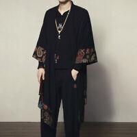 Mens Kimono Floral Loose Coat Yukata Outwear Japanese Jacket Long Bathrobe Black