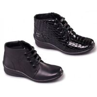 LADIES PADDERS LEATHER ANKLE WINTER BOOTS E/EE WIDE FIT ZIP UP SIZES 3-9 TANYA