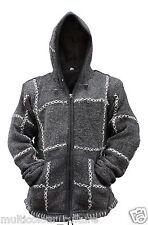 Men's Super warm fleece lined winter warmer,100% wool Hand knitted cozy jacket