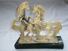 """Horse Statue Paper Weight Bookend Cast Resin? 8.5x 7.75"""" Figurine Marble Base"""
