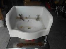 Antique Cast Iron White Porcelain INCLOSED APRON Bathroom Sink HOT COLD FAUCITS